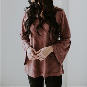 V Neck Bell Sleeve Waffle Knit Top - Wine