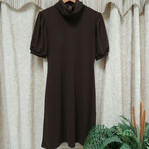 Host Pick! Brown cowl neck short sleeve dress