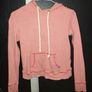 Cute Striped drawstring hoodie