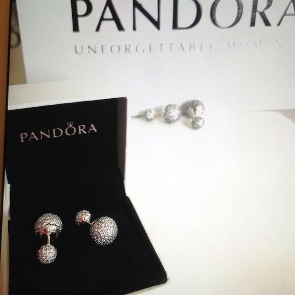 db64377bf Pandora Jewelry | Pave Drop Stud Silver Earrings New | Poshmark