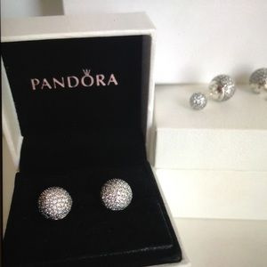 8d9237a41 Pandora Jewelry | Pave Drop Stud Silver Earrings New | Poshmark