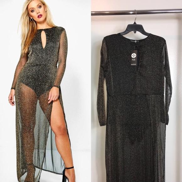 282794dacae8a Sheer Glitter Maxi Dress