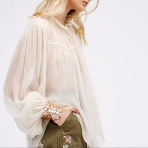 NEW Free People Dream sheer rose gold cuff blouse