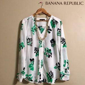 Banana Republic White Floral Print Tunic V-Neck
