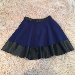 Topshop Leather Trim Skater Skirt