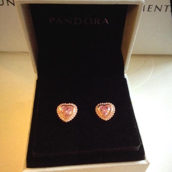 d7920103fe83e Pandora Sparkling Love Rose Gold Heart Earrings Boutique