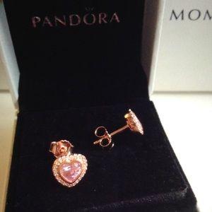 Pandora Jewelry Sparkling Love Rose Gold Heart Earrings Poshmark