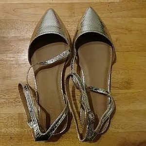 ASOS Wide Silver Pointed Flats New