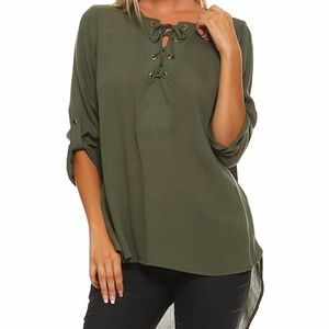 NEW 3/4 SLEEVE WOVEN LACE UP TOP W/ GOLD GROMMET