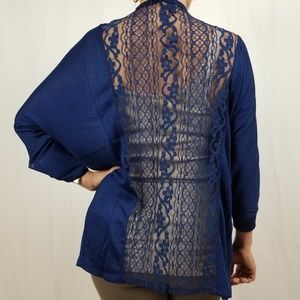 Absolutely Famous Sweaters - NWT 3/4 SLEEVE CARDIGAN W/ LACE BACK
