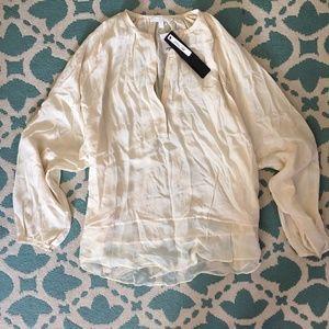 ARYN K 100% Silk Sheer Hemmed Ivory Blouse
