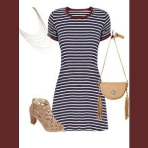Adorable Navy & white striped Ringer dress