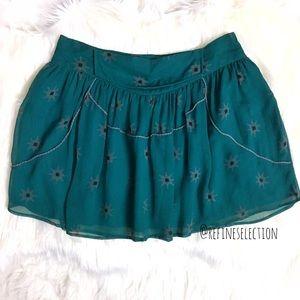 IRO Emerald Green Printed Silk Mini Skirt