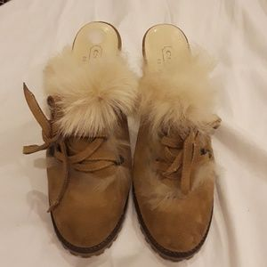 Coach Kristy Suede Fur Trim Mules Size 6.5