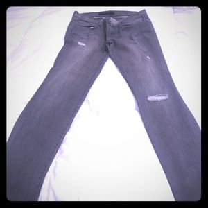 J brand gray jeans with rips