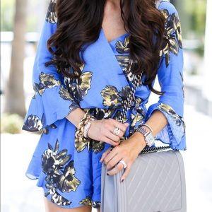 {free people} vivid blue floral romper