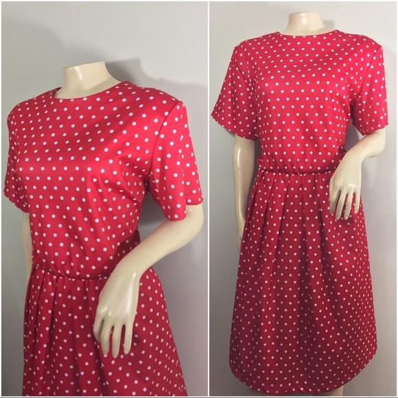 Plus Size Vintage Red and White Polkadot Dress