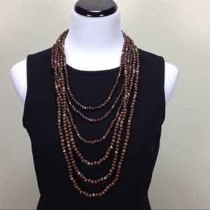Jewelry - 6 Stands Brown & Gold Wooden Beads Necklace