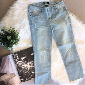 Light Wash Distressed Raw Hem Jeans