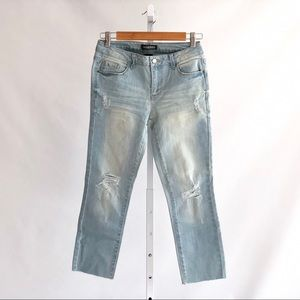 Generra Jeans - Light Wash Distressed Raw Hem Jeans