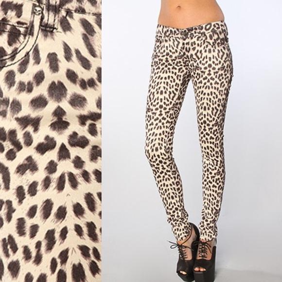 cabd9b9fca29 Tripp nyc Pants   Faux Suede Snow Leopard Skinny Pant   Poshmark