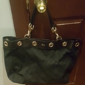 Black Gucci canvas and leather tote
