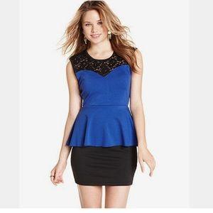 Blue and Black Peplum Dress,  XL, 30% off bundles!