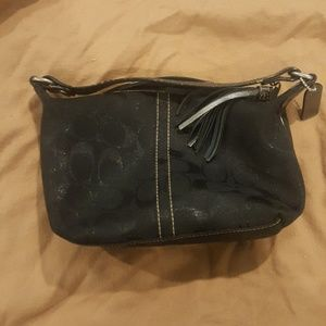 Black Coach shimmer bag with snakeskin handle