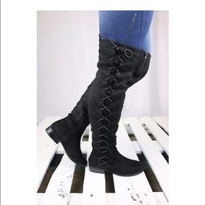 Shoes - Suede Side Lace Up Flat Thigh High OTK Boot