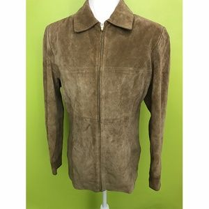 Anne Klein Long Sleeve Brown Leather Jacket Sz S