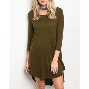 | OLIVE HI-LO TUNIC DRESS |