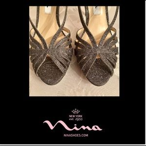 NINA •Black/Silver Glitter Heels
