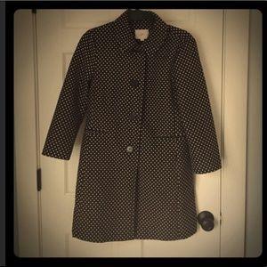LOFT | Black and Beige Polka Dots Coat