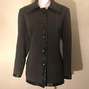 INC Dark Gray Peacoat with Faux Leather Trim