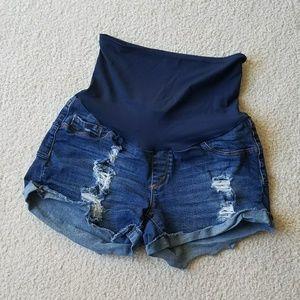 SONG Maternity Denim Cut Off Shorts