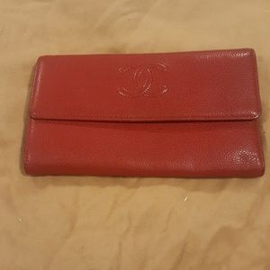 Red Chanel Travel Wallet