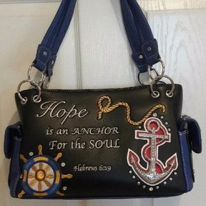 Handbags - Blue Scripture Handbag Hebrews 6:19 NEW!