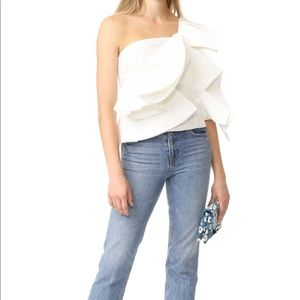 Dramatic one shoulder white top