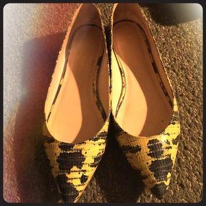 Loeffler Randall pointy toe croc flats