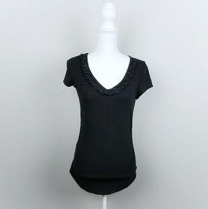 Black Decorative Jewel Vneck Tee Stretchy Tshirt S