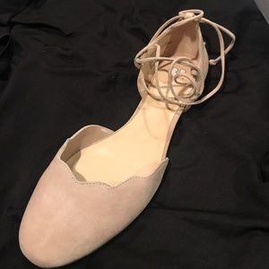 BNIB BP blush suede ankle strap flat