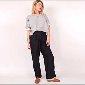 Vintage 90s blue linen minimalist trouser pants