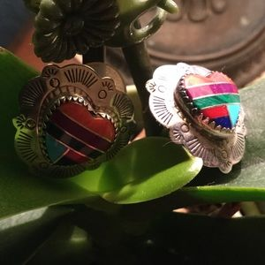 Jewelry - SALE Vintage Silver Hearts With Mixed Stones