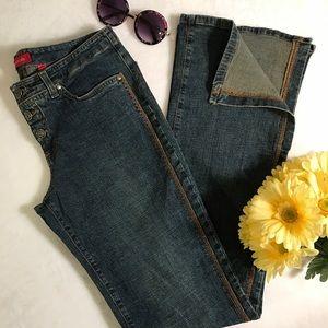 Bebe boho vintage contrast slit hem flare jeans