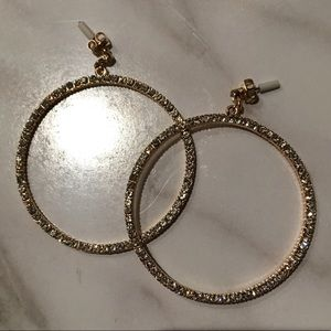 NWOT H&M front drop hoop rhinestone earrings