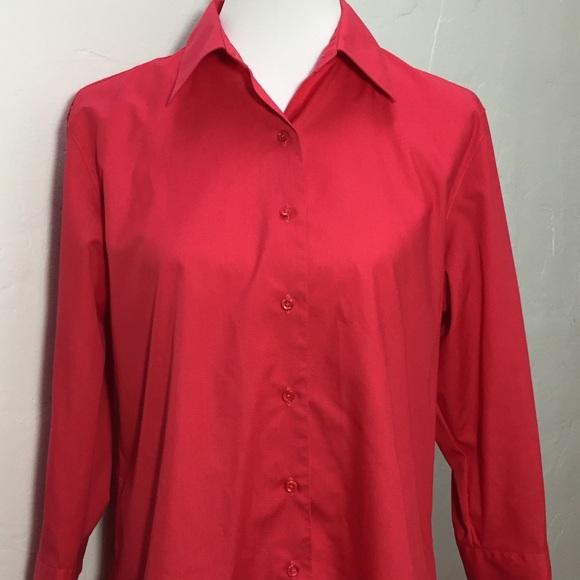f78065b4 Foxcroft Tops | Red Wrinkle Free Shaped Fit Shirt | Poshmark