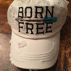 "Accessories - Distressed ""Born Free"" Vintage Cap"