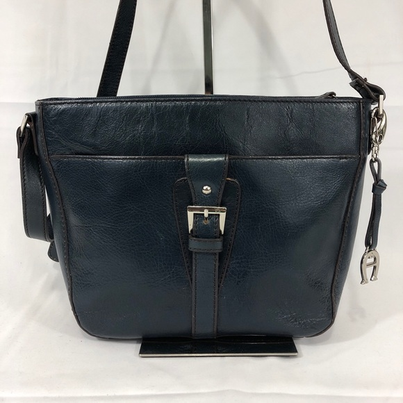 Etienne Aigner Handbags - Navy Etienne Aigner Genuine Leather Shoulder Bag