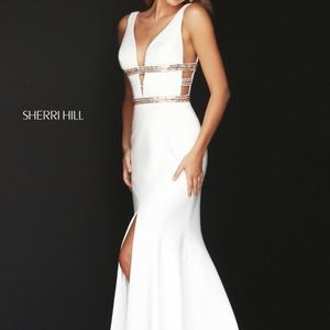 White Sherri Hill evening gown