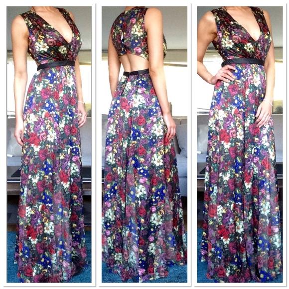 c13e5b0a65a Alice + Olivia Triss Silk and Leather Maxi Dress
